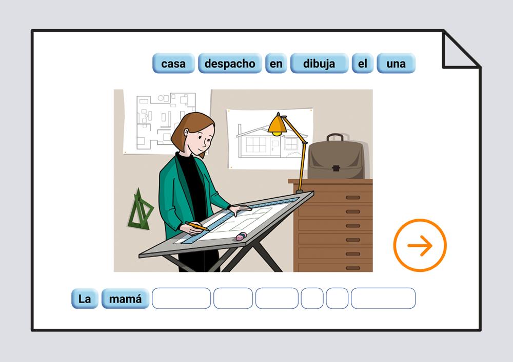 Material interactivo para trabajar la ordenación correcta de las palabras escritas que componen una frase, representada por una lámina. Verbos Dibujar y Pintar
