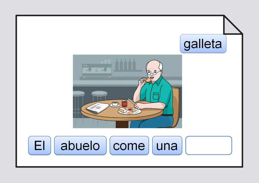 Material para trabajar la ordenación de las palabras escritas que componen una frase.