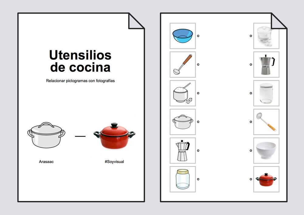 relacionar utensilios de cocina pictogramas fotograf as