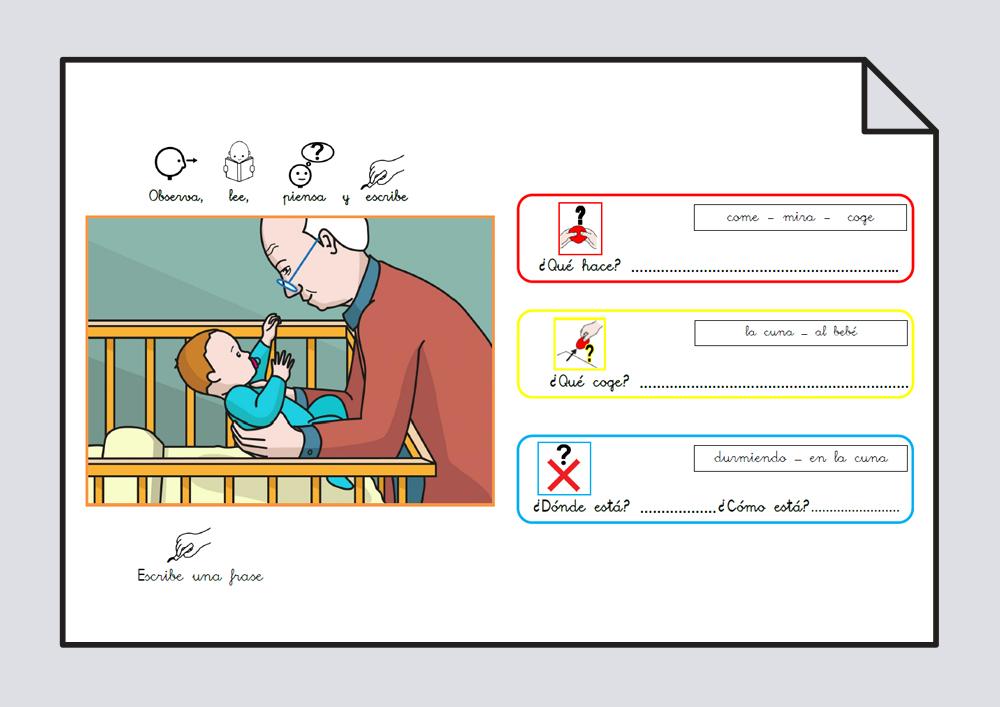 Material para trabajar comprensión / expresión oral y lectoescritura. Verbo Coger