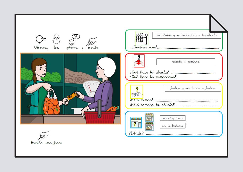 Material para trabajar comprensión / expresión oral y lectoescritura. Verbo Comprar