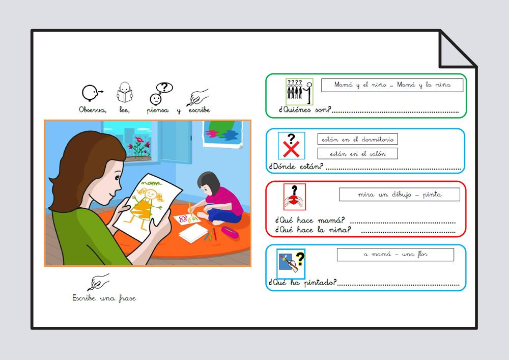 Material para trabajar comprensión / expresión oral y lectoescritura. Verbo Mirar