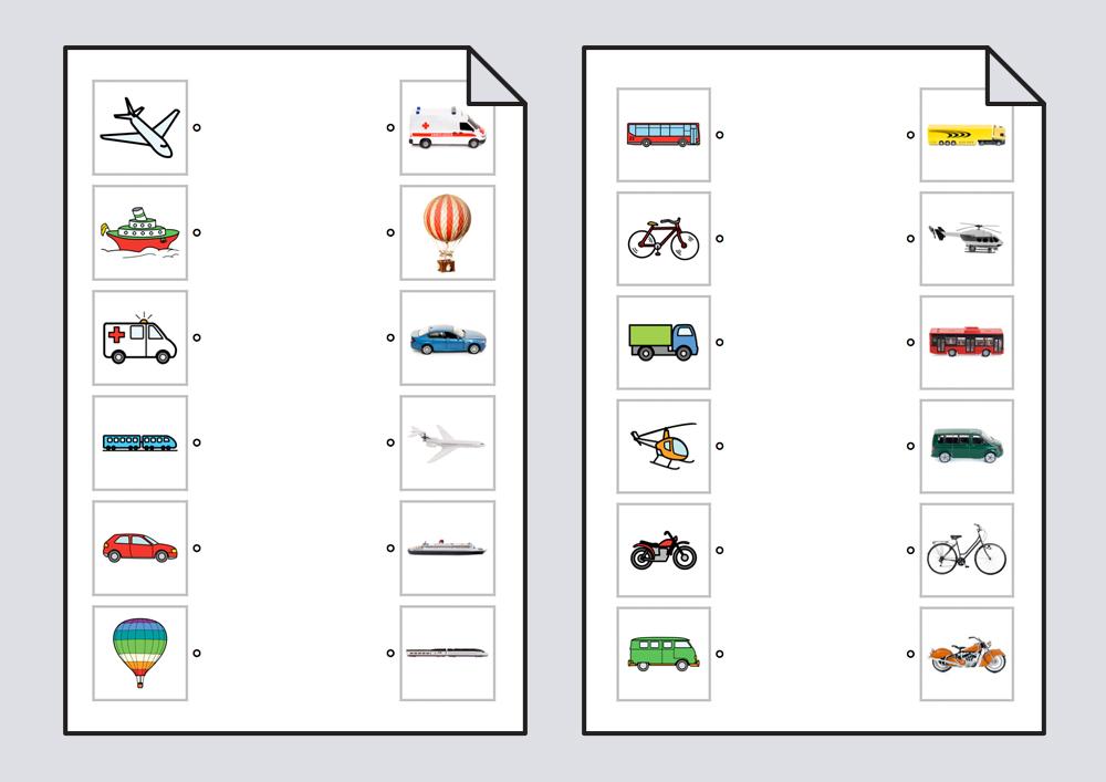 Relacionar transportes: pictogramas-fotografías