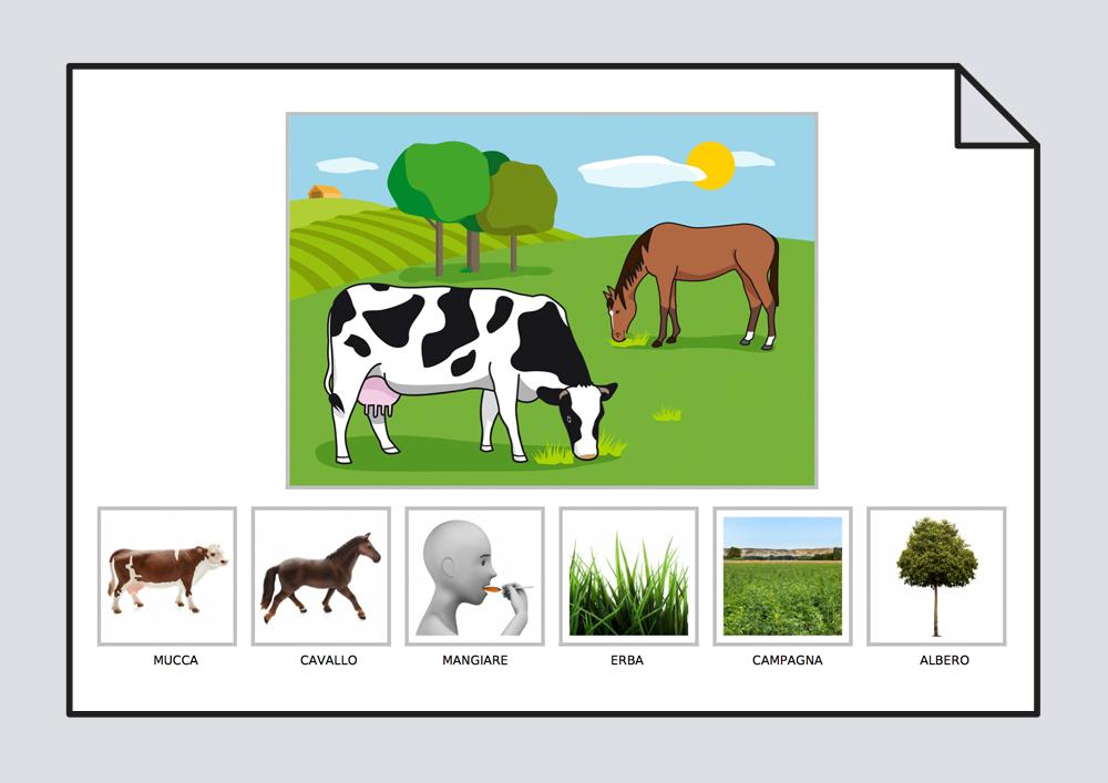 La vaca y el caballo comen hierba en el campo