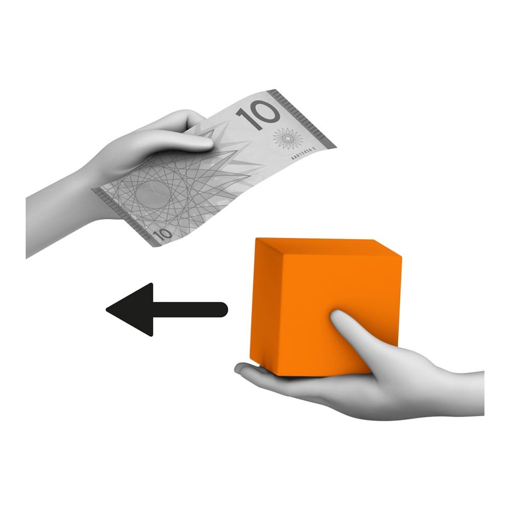 Imagen en la que se ve una mano dando un paquete naranja a otra que le está dando un billete