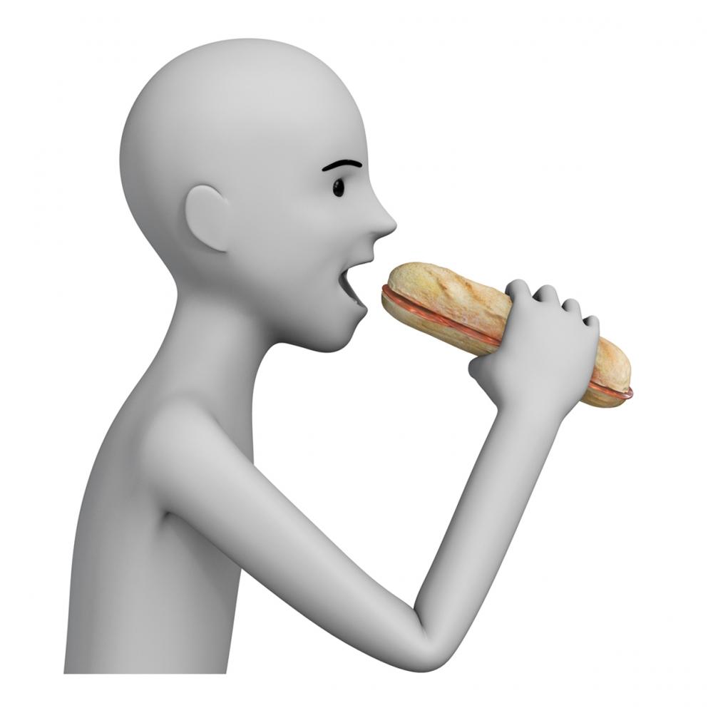 Imagen en la que aparece una persona comiéndose un bocadillo