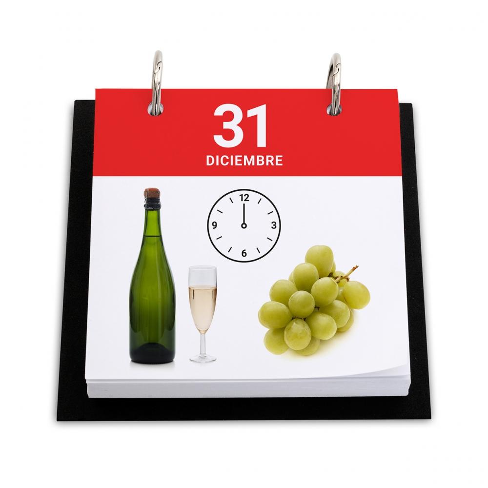 Imagen en la que se ve un calendario con el día de Nochevieja