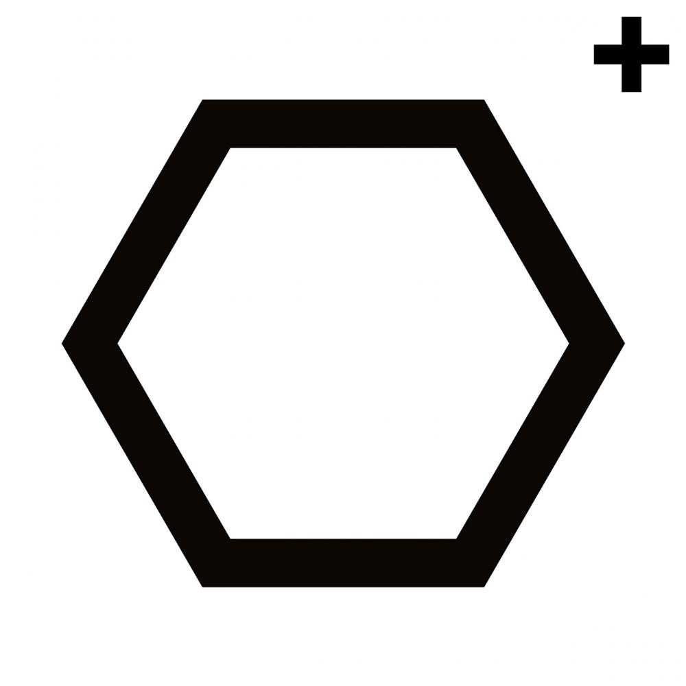 Imagen en la que se ve un hexágono con el trazo en color negro