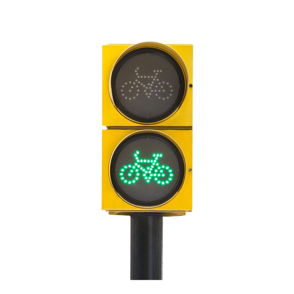 Imagen en la que se ve un semáforo de bicicletas