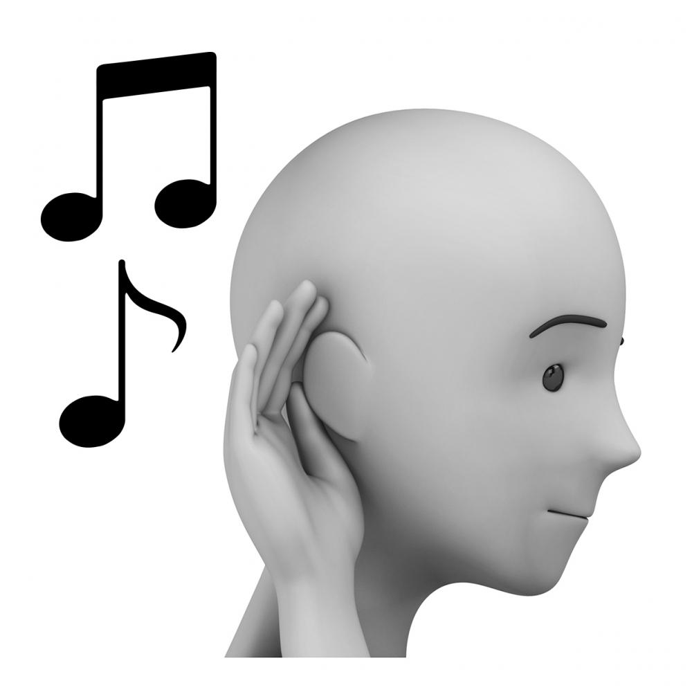 Imagen del verbo escuchar música