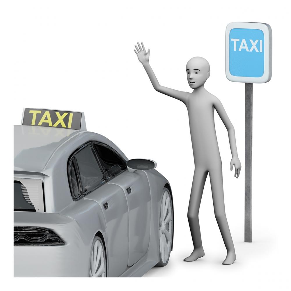 Imagen en la que se ve a una persona parando un taxi
