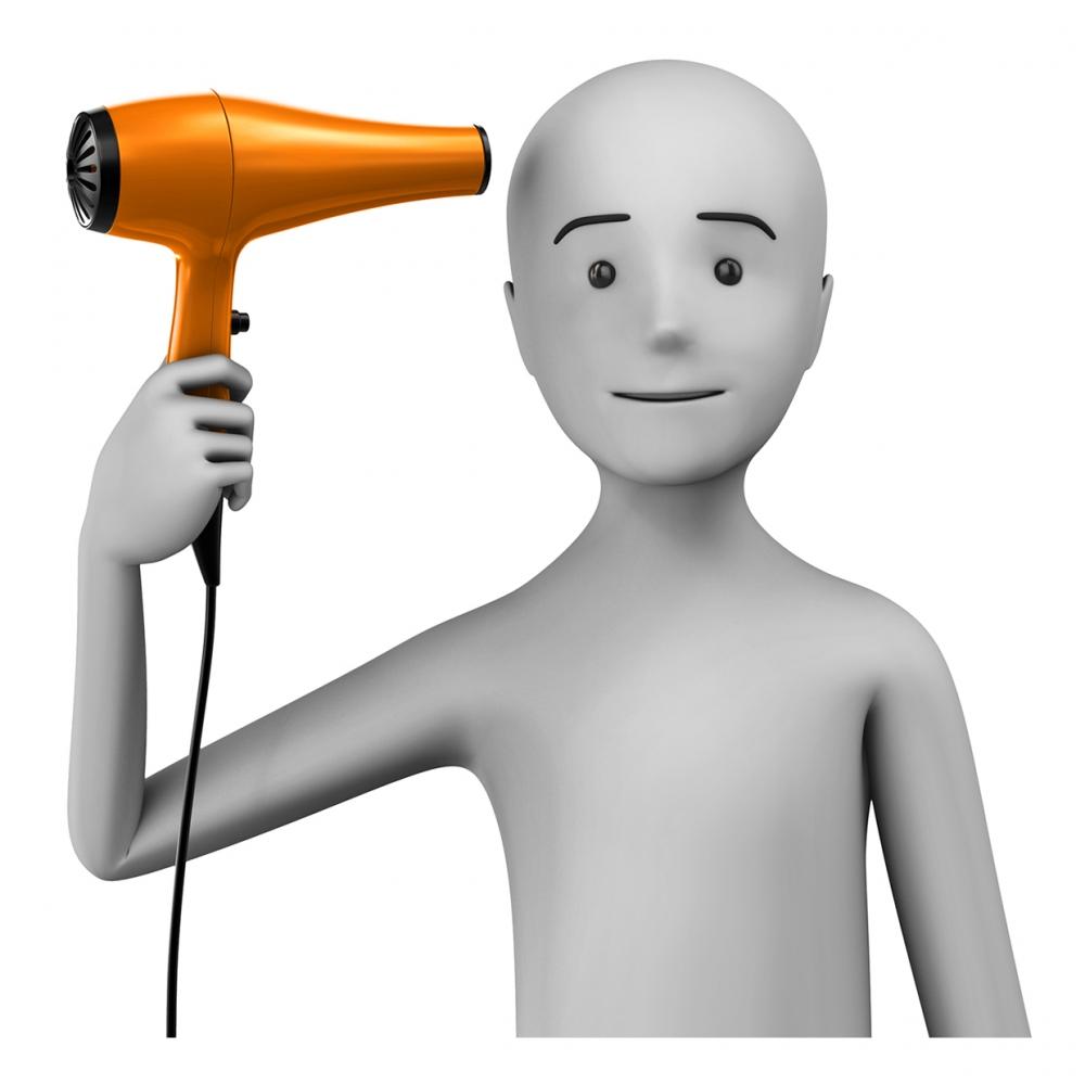Imagen en la que se ve una persona secándose el pelo con secador