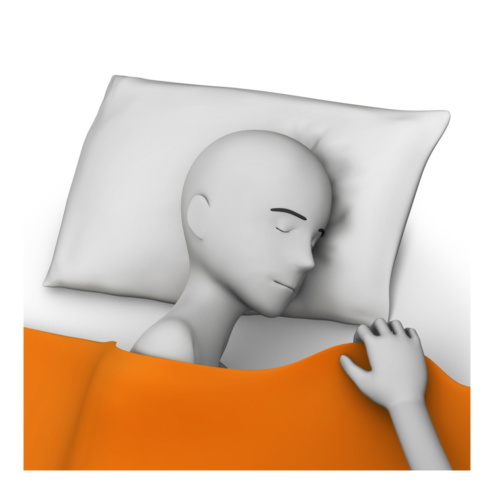 Imagen en la que una mano está tapando con una sábana a una persona dormida