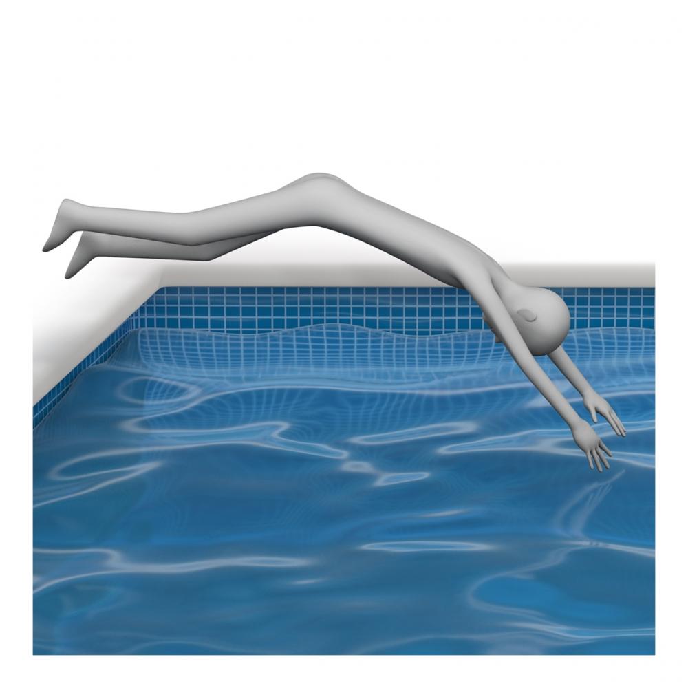 Imagen en la que una persona se está tirando al agua de cabeza