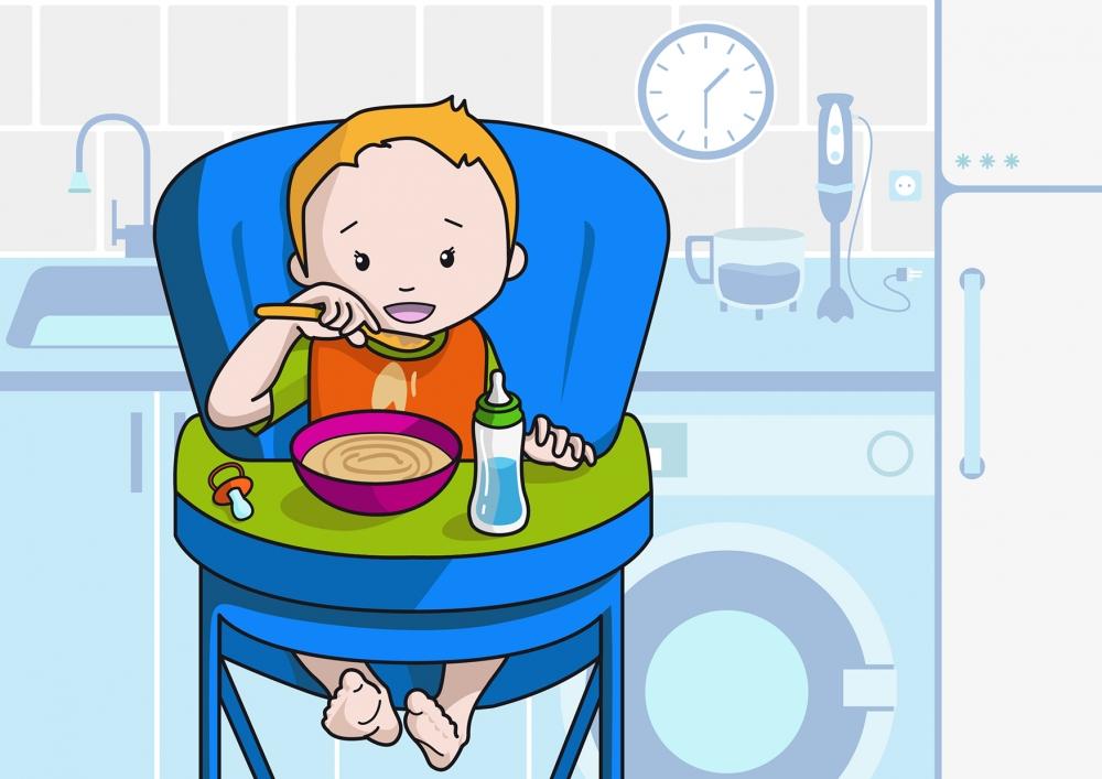 Lámina en la que se observa a un bebé comiendo puré con la cuchara en la cocina de su casa.