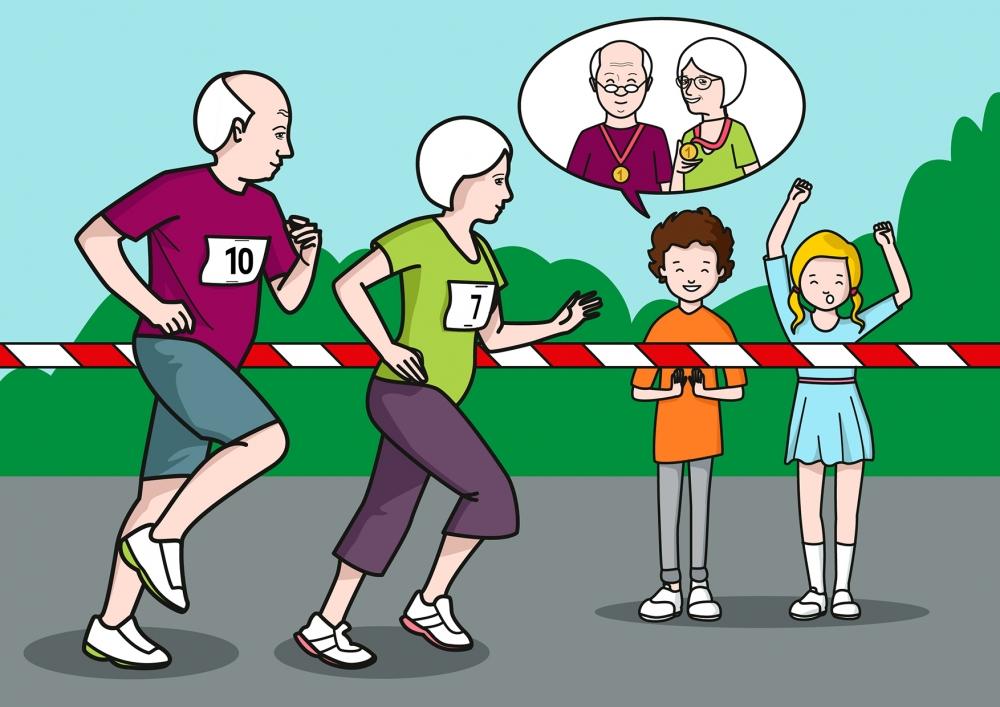 Los niños animan a los abuelos en la carrera