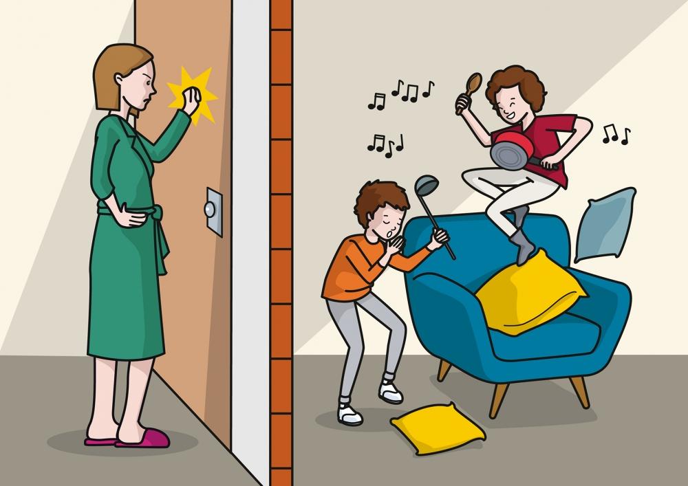 Los niños molestan a la vecina