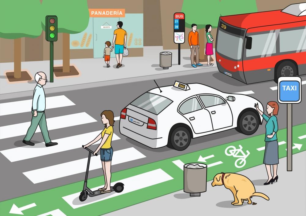 La calle y los medios de transporte