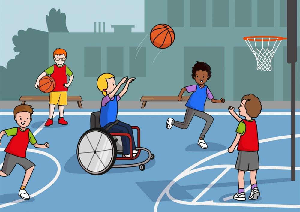 Los niños juegan al baloncesto en el patio del colegio
