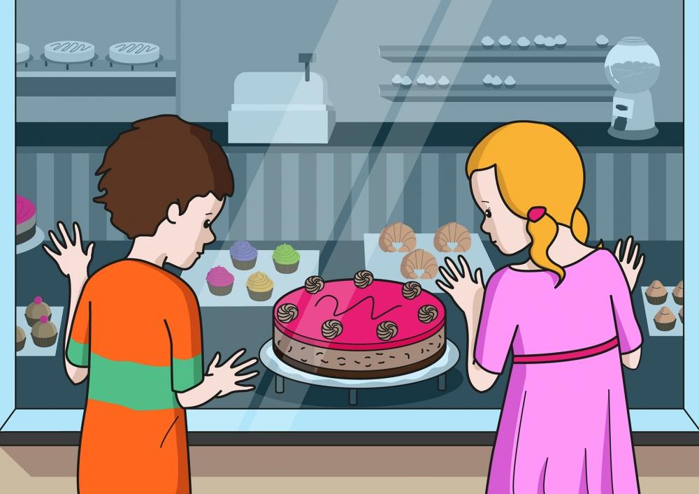 En la escena, se observa a un niño y a una niña mirando una tarta con las manos apoyadas en el escaparate de la pastelería.