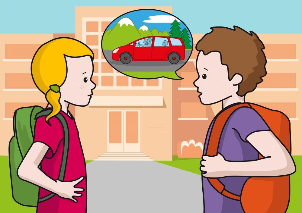 En la escena, se observa a dos niños hablando en la puerta del colegio. El niño le cuenta a la niña el viaje que ha realizado con sus padres a la montaña durante el fin de semana.