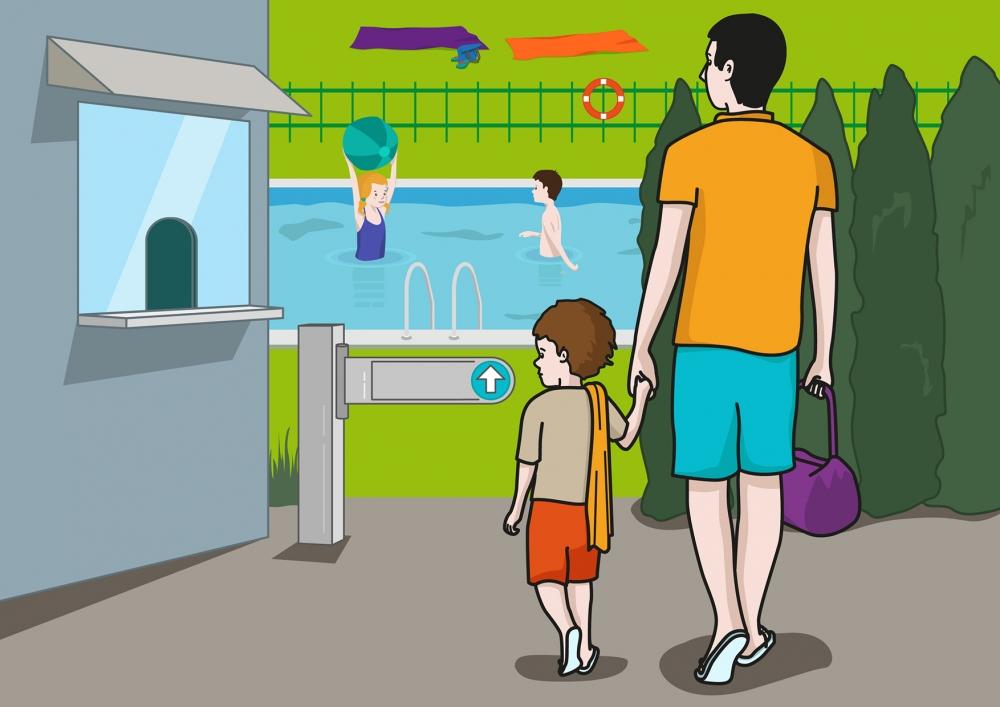 En la escena, se observa a un niño, cogido de la mano con su padre, dirigiéndose a la piscina.