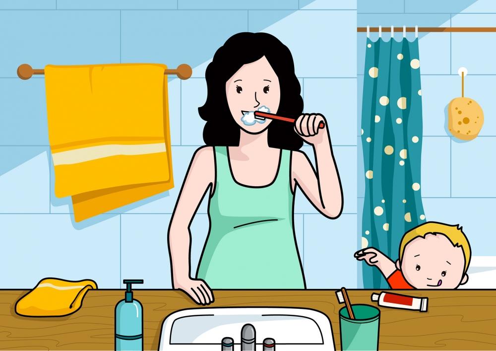 Mamá se cepilla los dientes