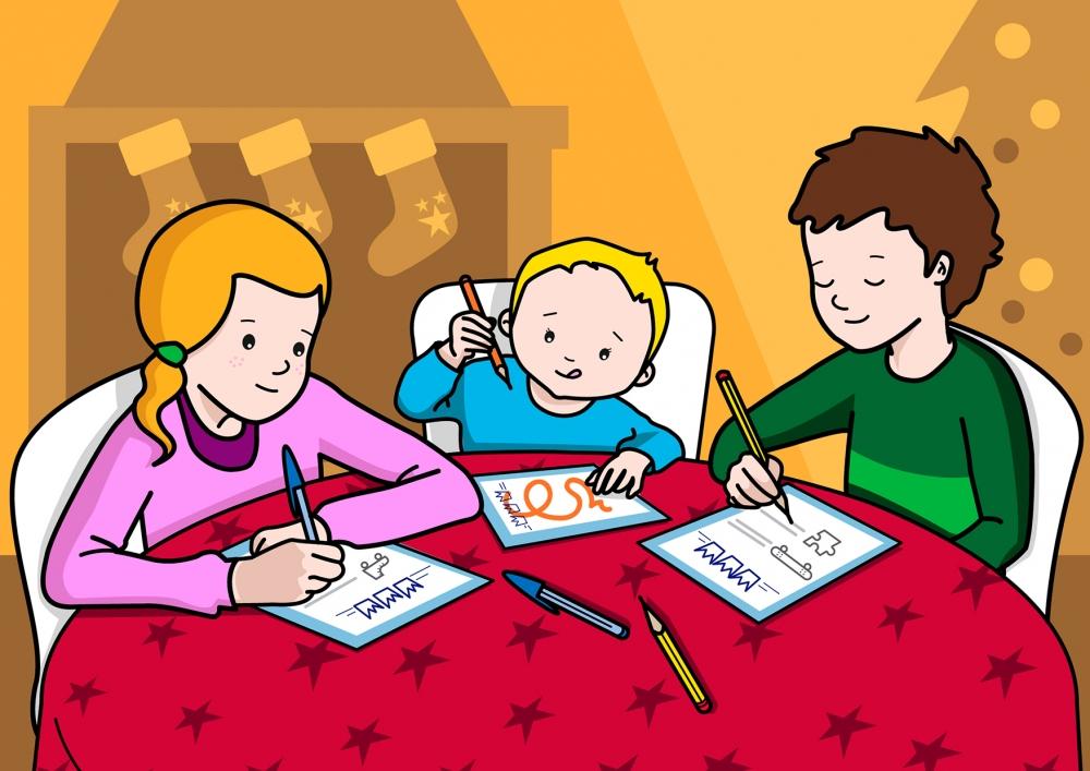 Escena en la que se ve a unos niños escribiendo una carta de regalos