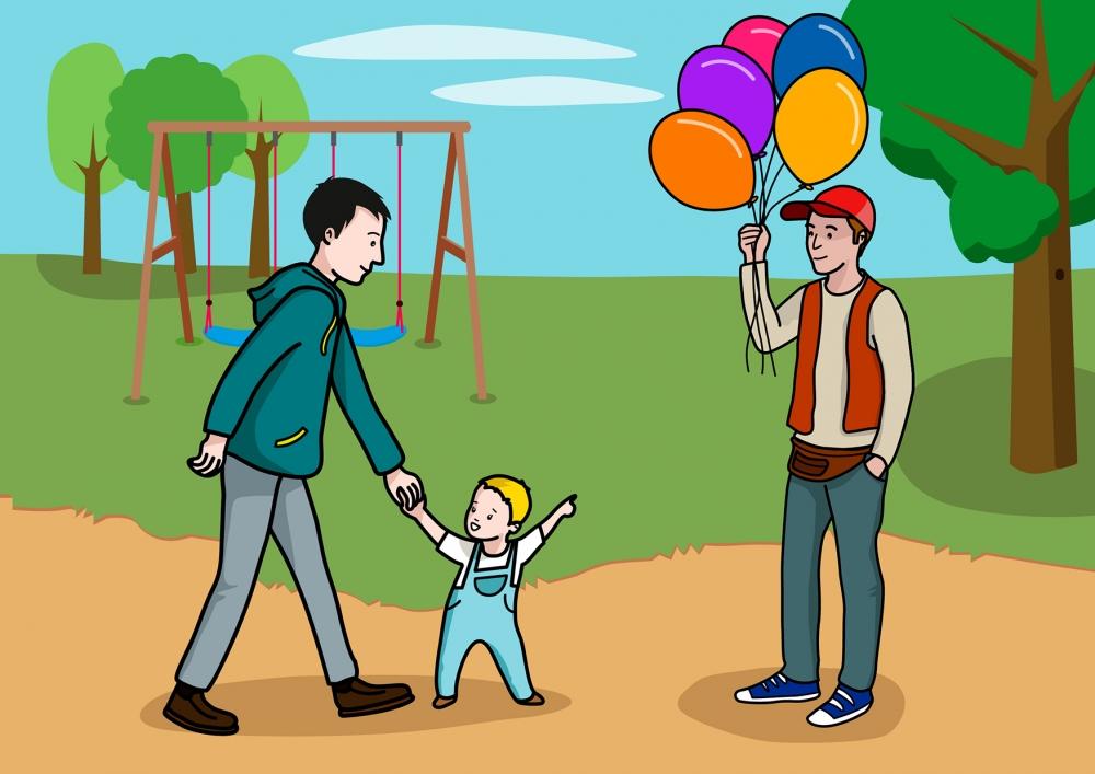 El bebé quiere un globo