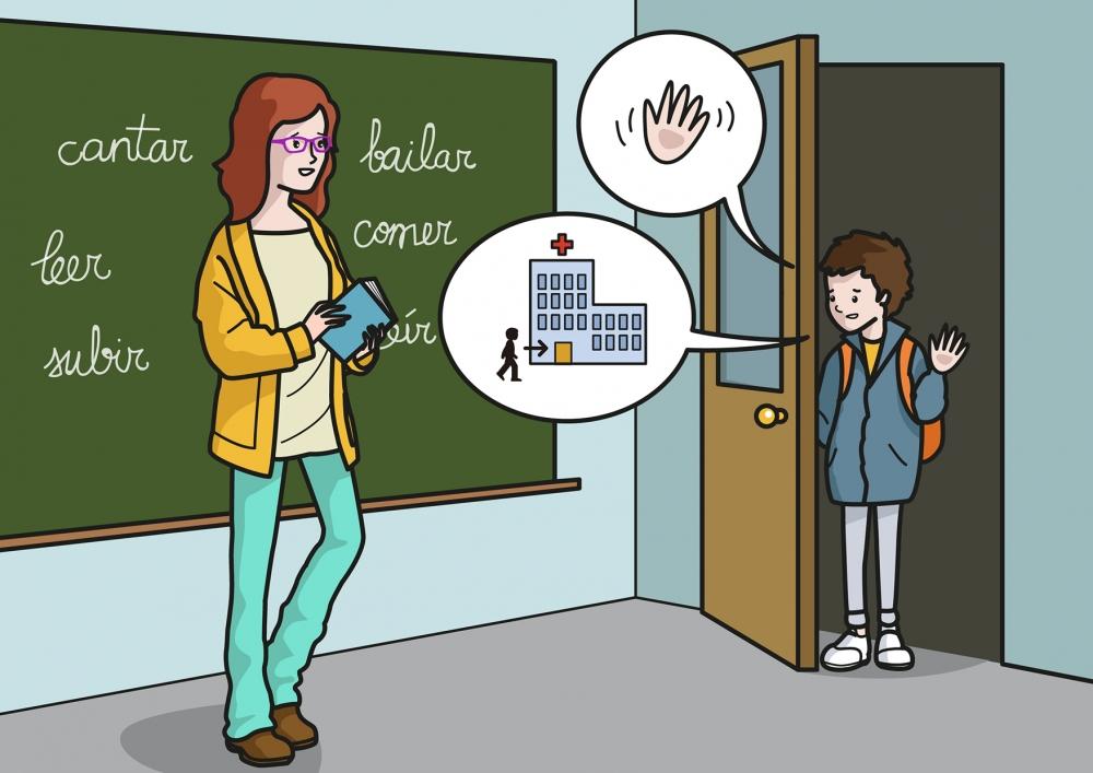 El niño saluda a la profesora