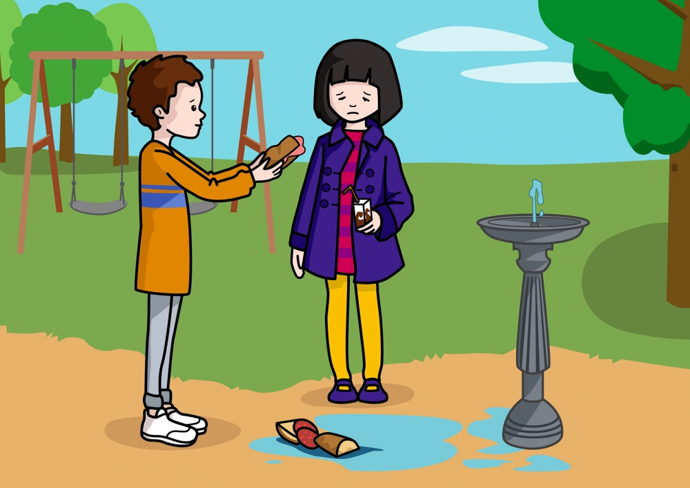 El niño comparte el bocadillo con la niña