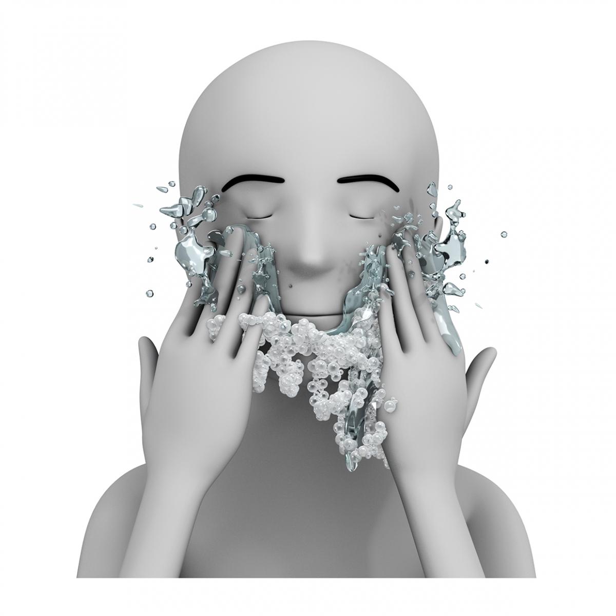 Imagen en la que se ve una persona aclarándose la cara