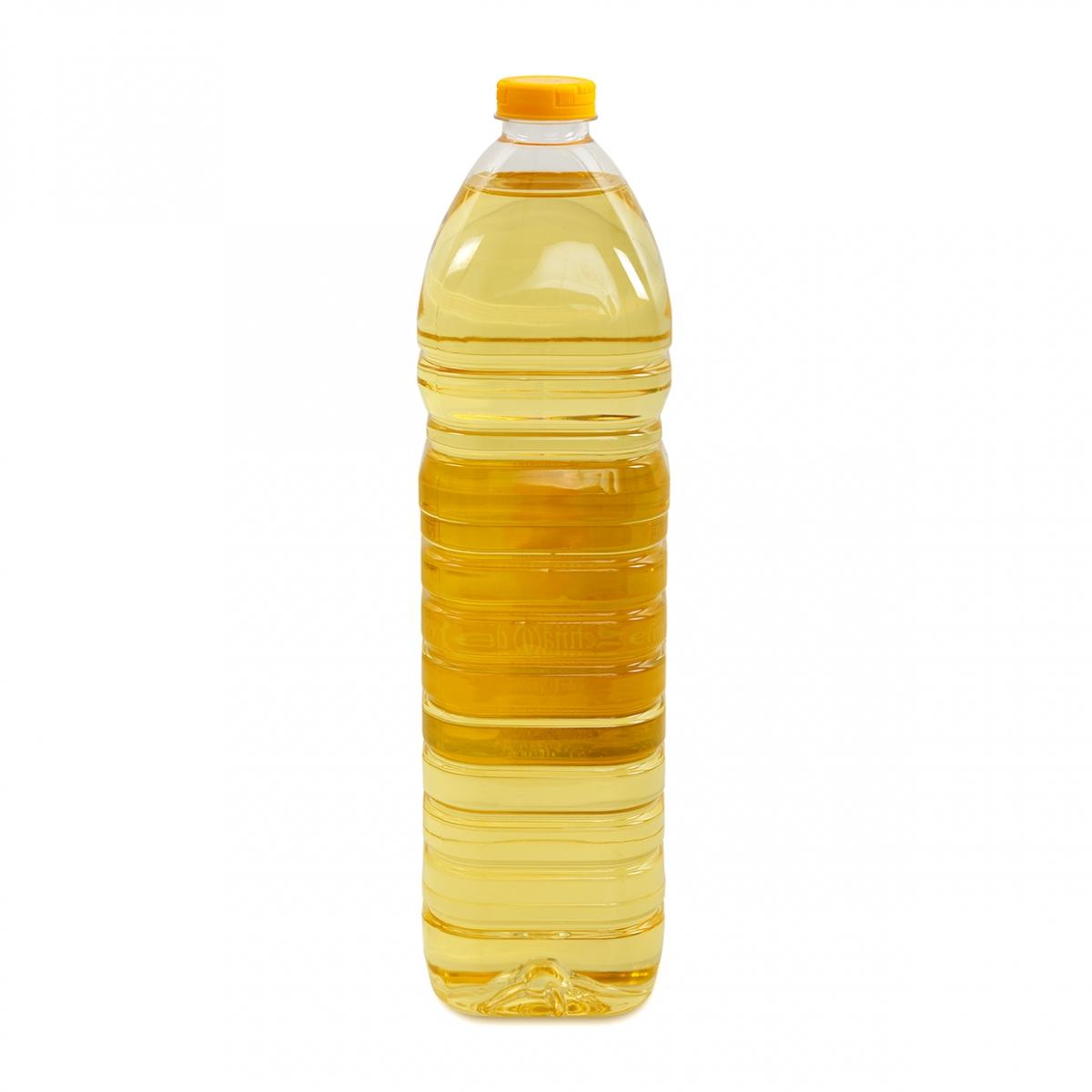 Imagen en la que se ve una botella de aceite de girasol