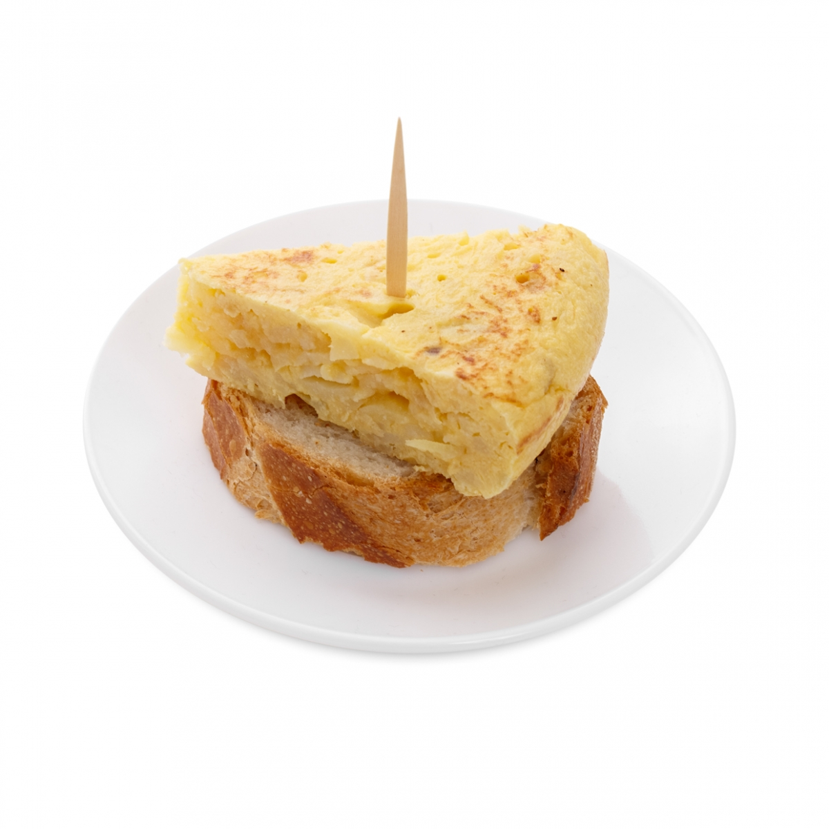 Imagen en la que se ve un pincho de tortilla de patata