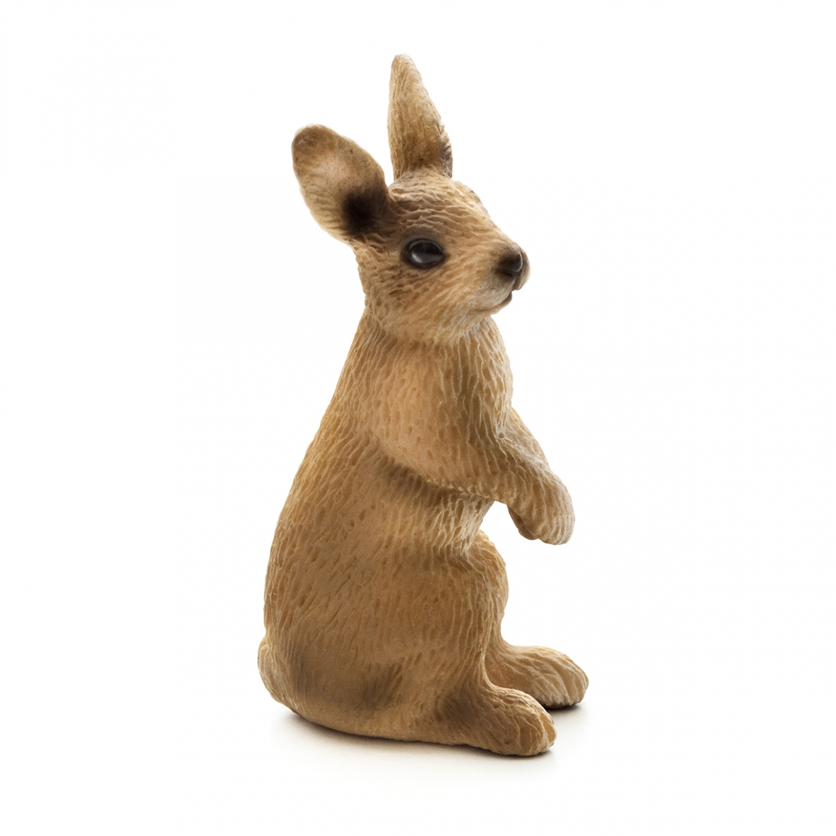 Imagen en la que se ve un conejo sentado sobre sus patas traseras de perfil