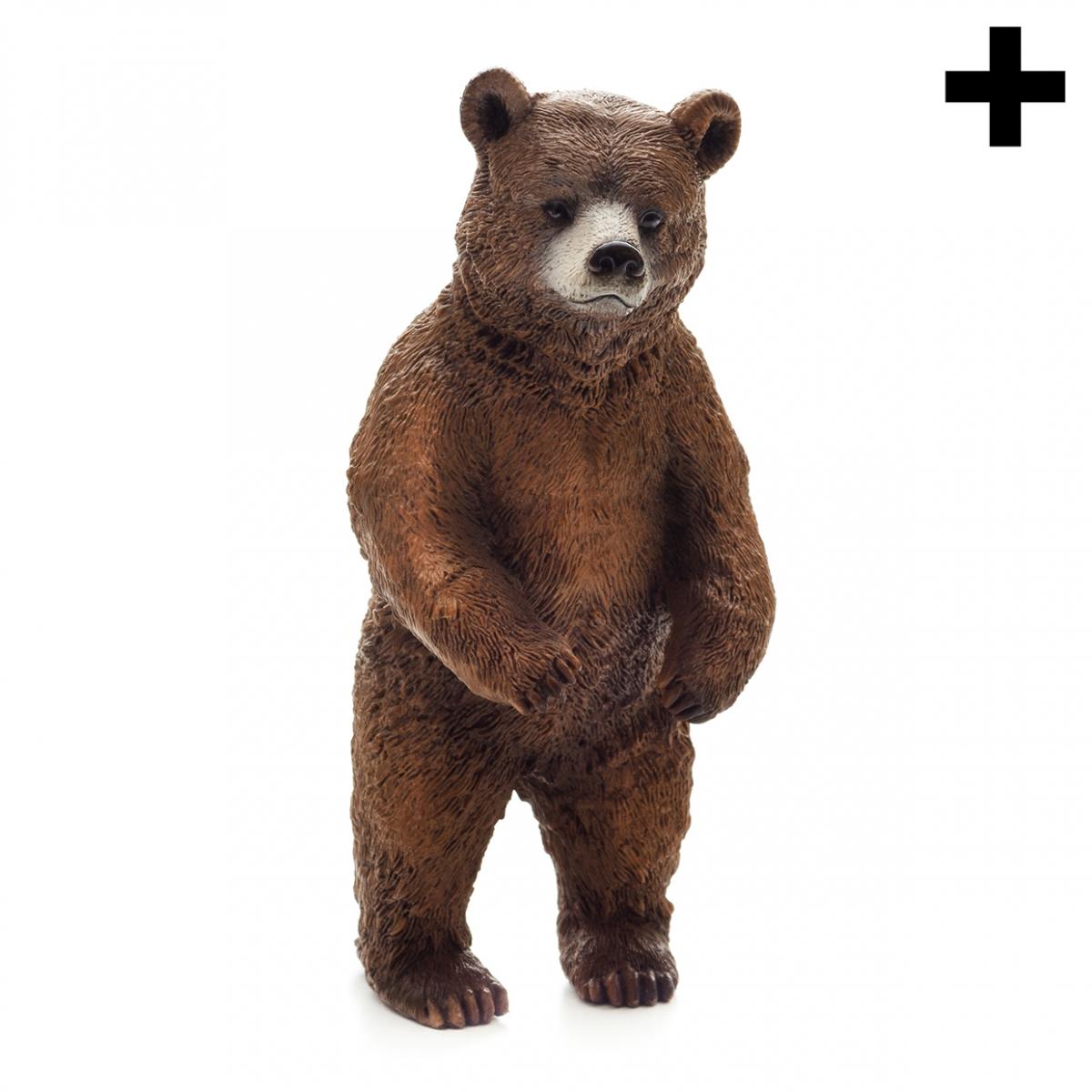 Imagen en la que se ve un oso de pie apoyado sobre sus dos patas traseras