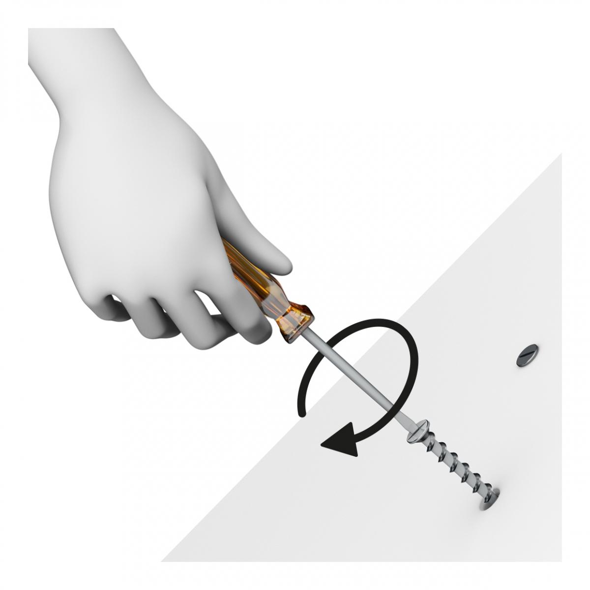 Imagen en la que una mano está atornillando un tornillo con un destornillador