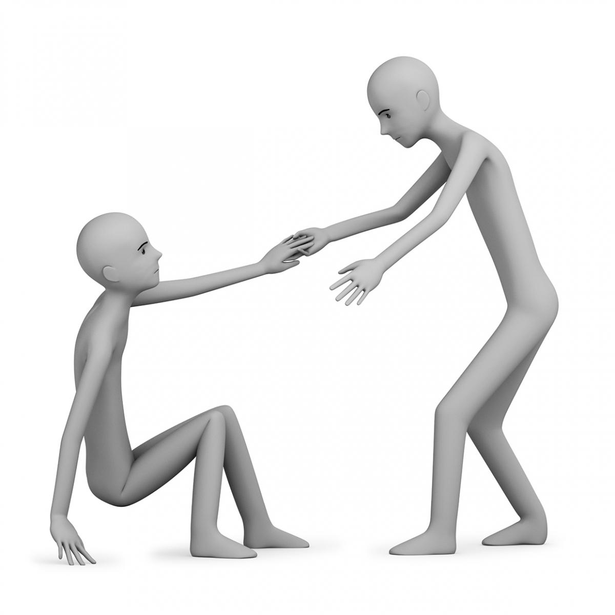 Imagen en la que se ve a una persona ayudando a otra a levantarse del suelo