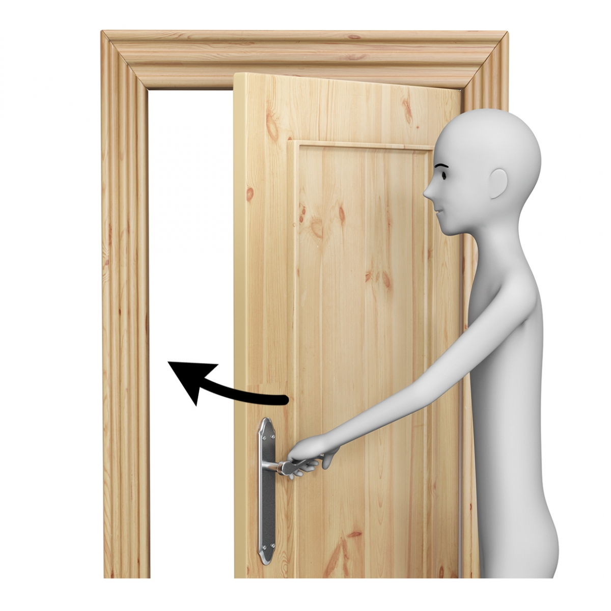 Una persona cerrando una puerta