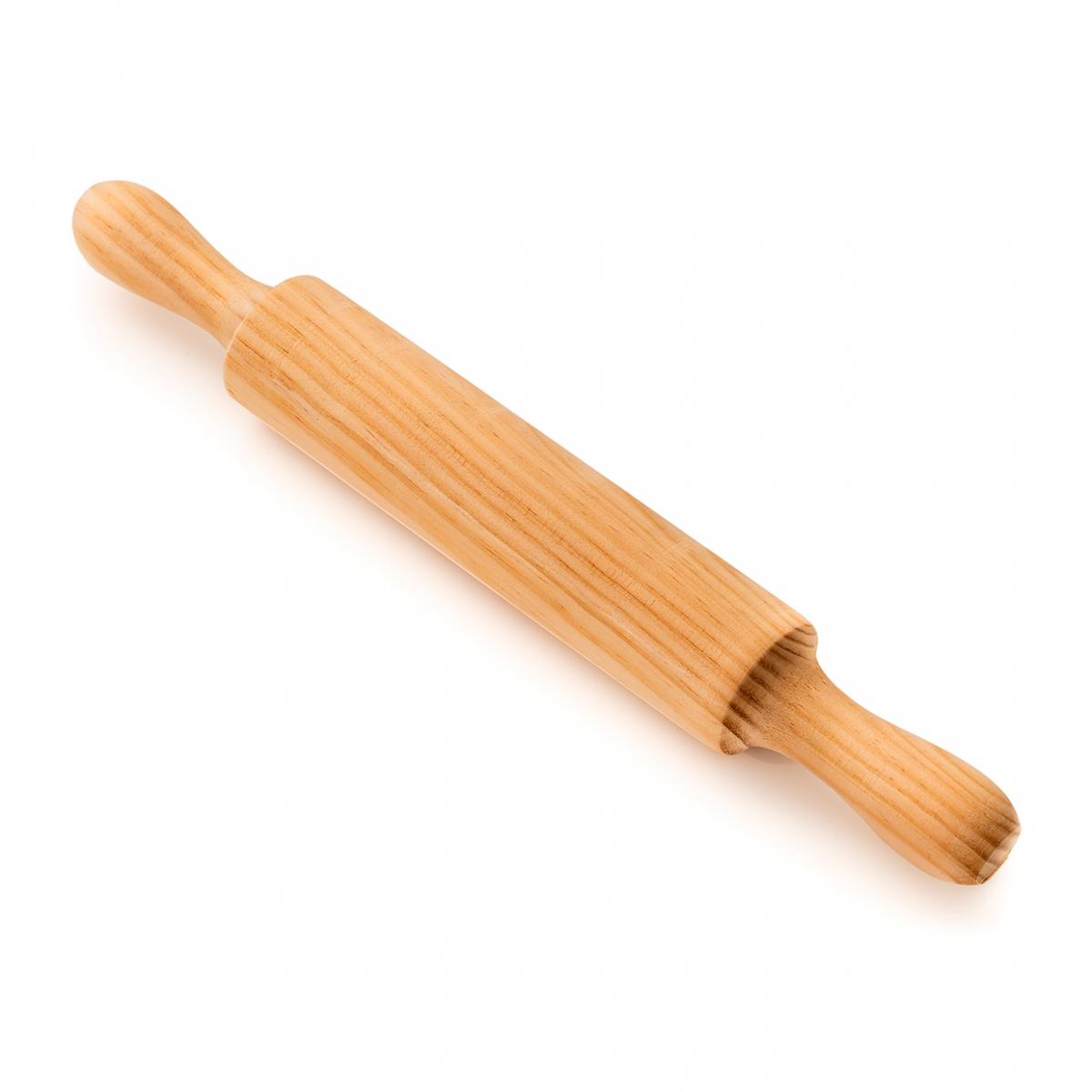 Imagen en la que se ve un rodillo de madera para amasar