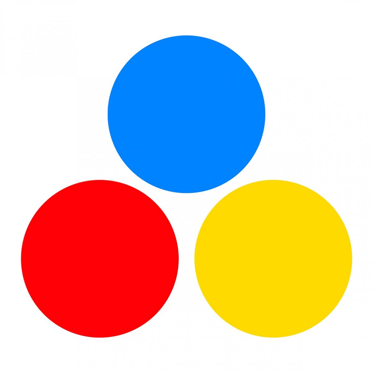 Imagen en la que se ven tres círculos de colores: azul, rojo y amarillo