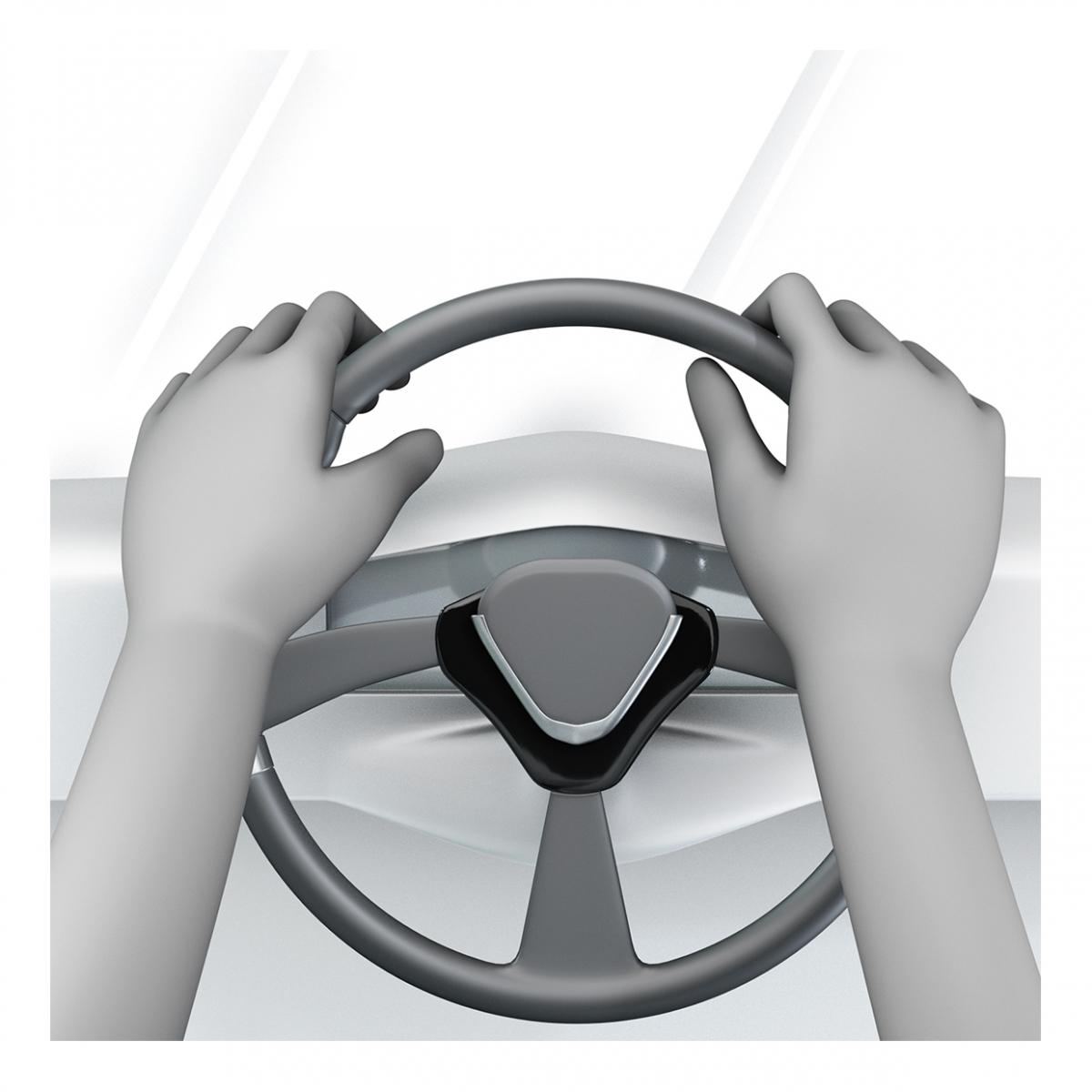 Imagen de unas manos en un volante en posición de conducir