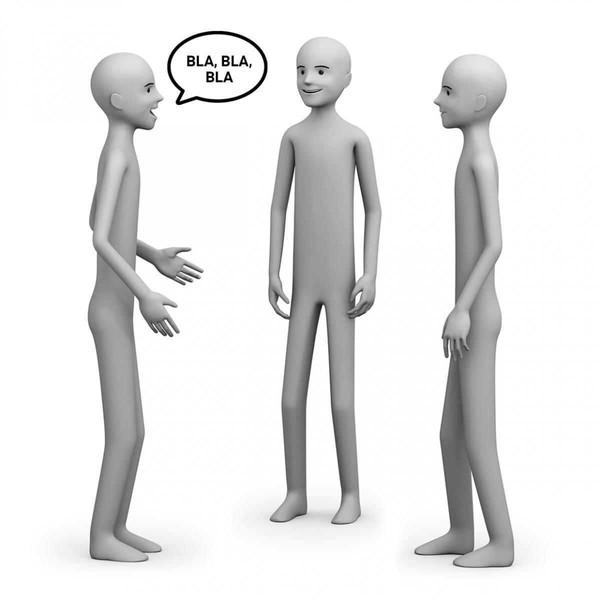 Tres personas conversan de pie