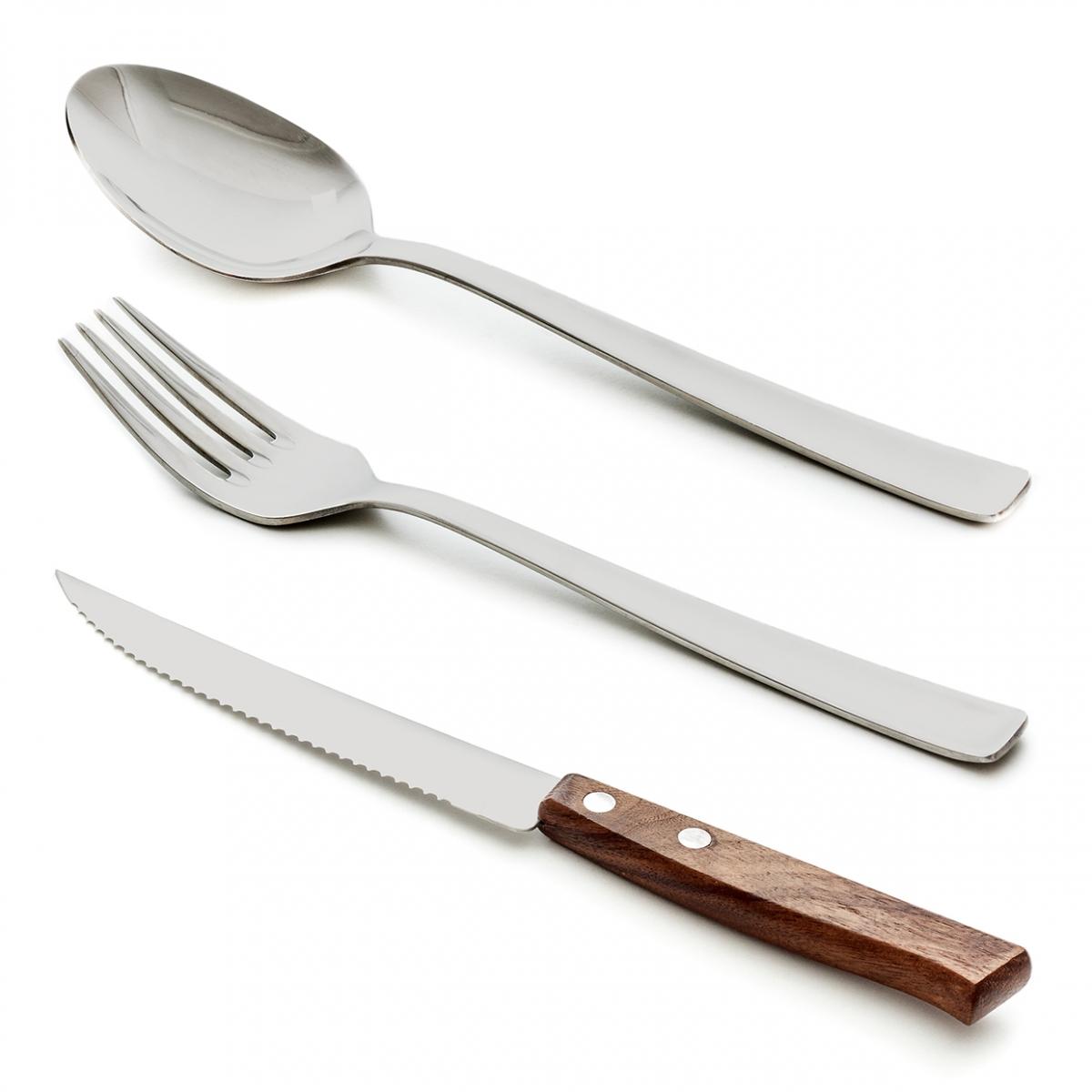 Imagen en la que se ven tres cubiertos: una cuchara, un tenedor y un cuchillo