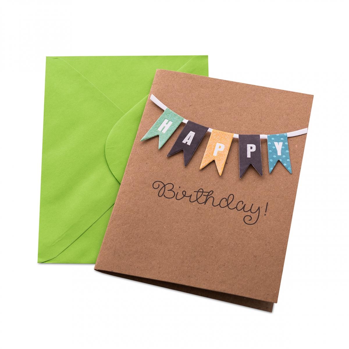 Imagen en la que se ve una postal de felicitación de cumpleaños