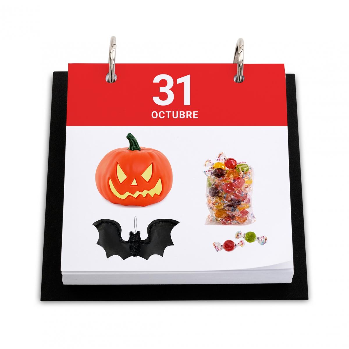 Imagen en la que se ve un calendario con el día de Halloween