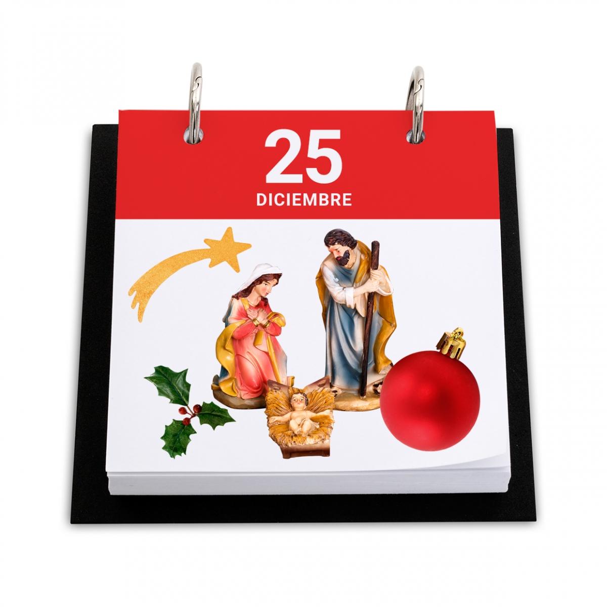 Imagen en la que se ve un calendario con el día de Navidad