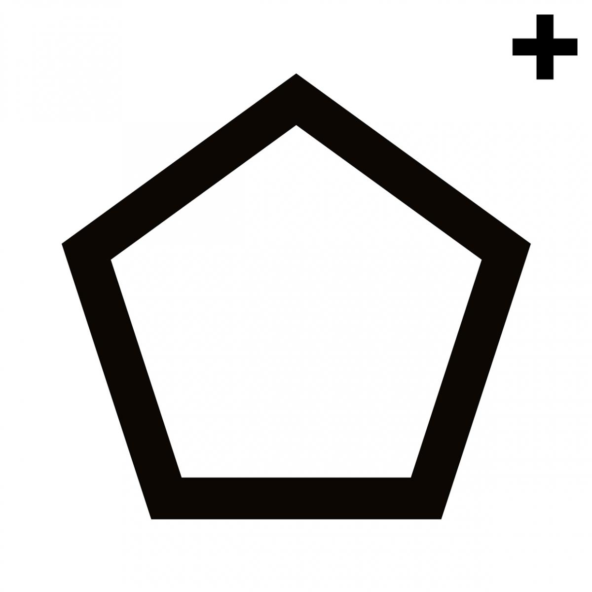 Imagen en la que se ve un pentágono con el trazo en color negro