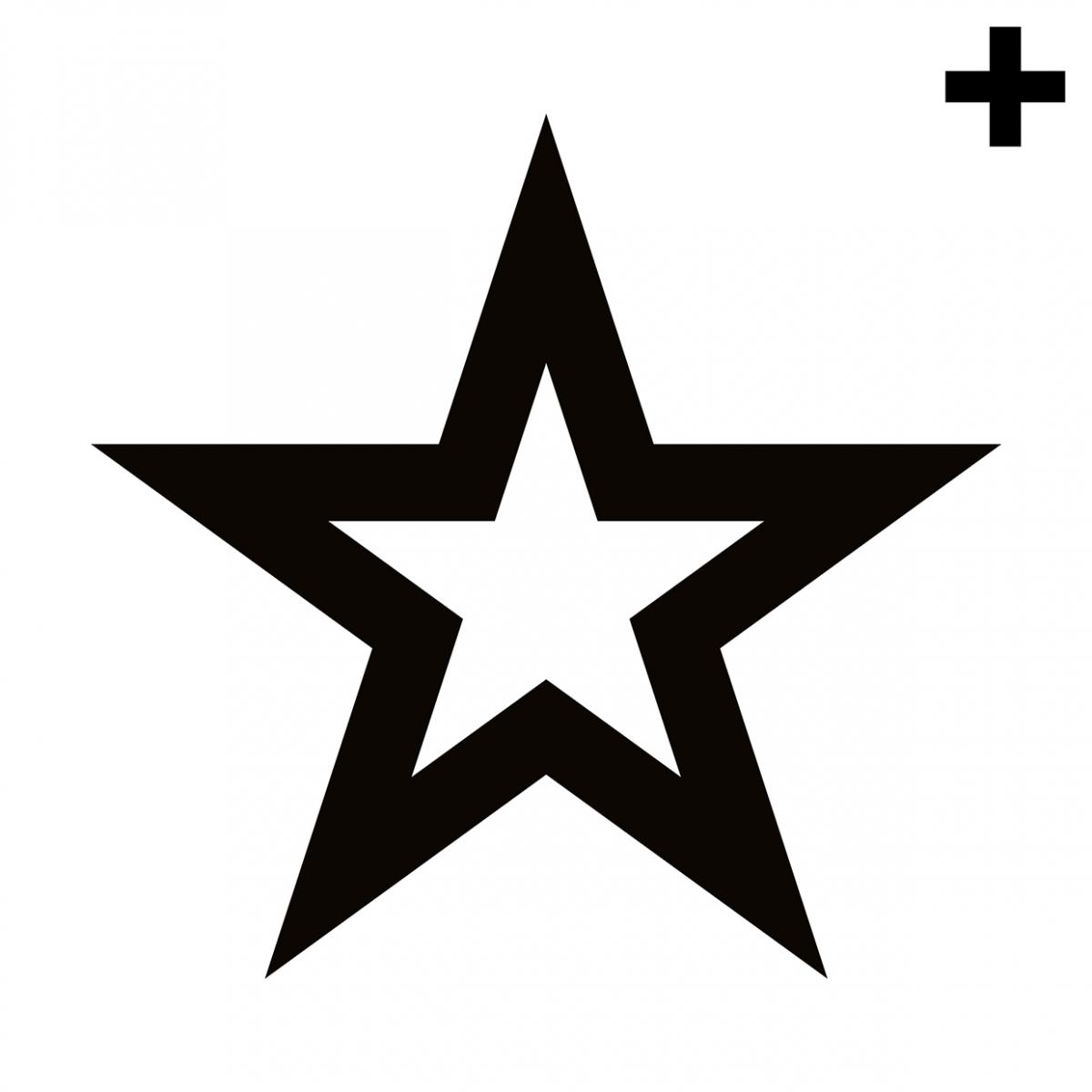 Imagen en la que se ve una estrella de cinco puntas con el trazo en color negro