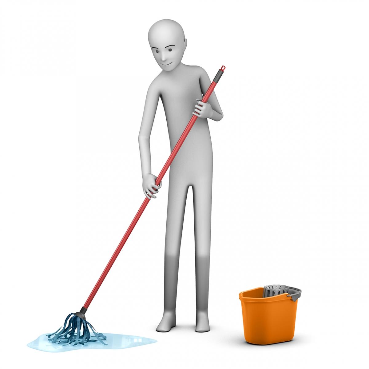 Imagen en la que aparece una persona fregando el suelo